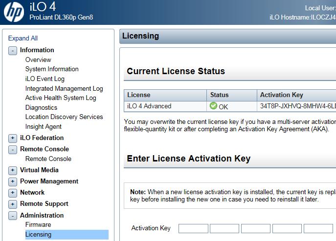 how to  ilo license key